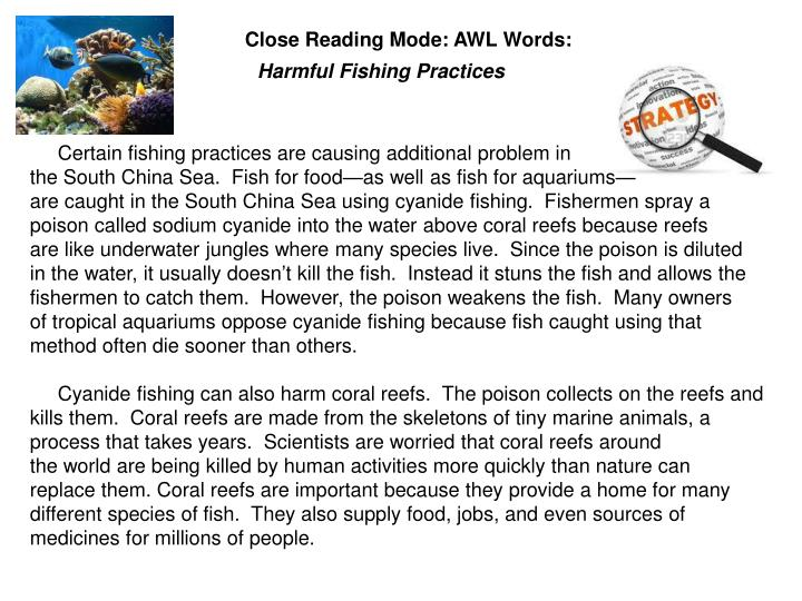 Close Reading Mode: AWL Words: