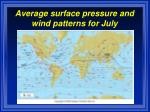 average surface pressure and wind patterns for july