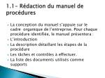 1 1 r daction du manuel de proc dures
