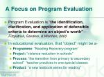 a focus on program evaluation