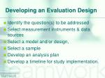 developing an evaluation design
