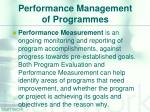 performance management of programmes