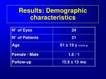 results demographic characteristics