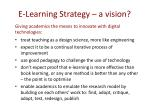 e learning strategy a vision
