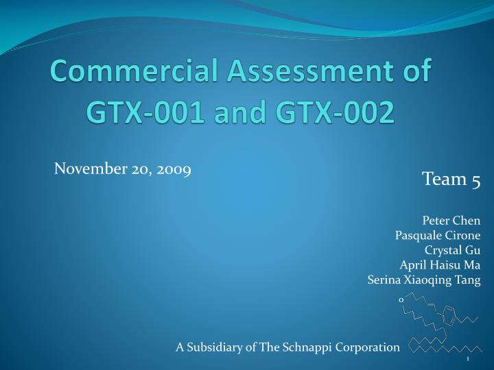commercial assessment of gtx 001 and gtx 002 n.