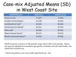 case mix adjusted means sd in west coast site