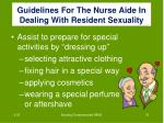 guidelines for the nurse aide in dealing with resident sexuality1