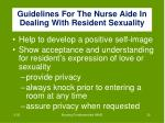 guidelines for the nurse aide in dealing with resident sexuality2
