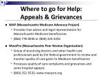 where to go for help appeals grievances