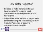 low water regulation