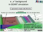 e e background in geant simulation