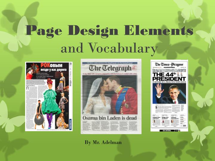 page design elements and vocabulary n.
