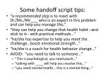 some handoff script tips