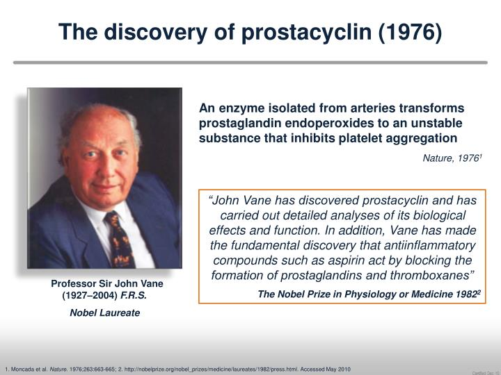 the discovery of prostacyclin 1976 n.