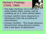 harlow s findings 1958 1966