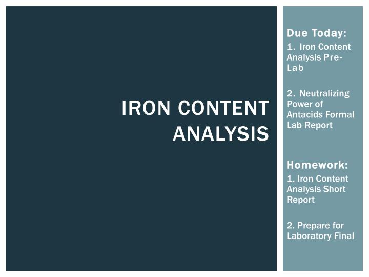 iron content analysis n.