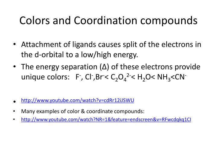 Colors and Coordination compounds