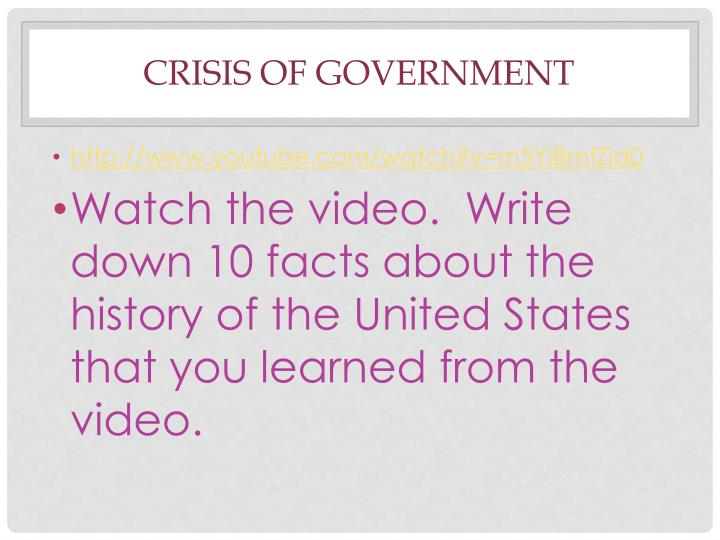crisis of government n.
