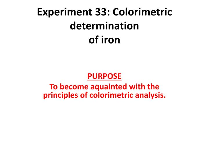 determination of iron in natural water by Determination of iron in natural water by spectrophotometry 1670 words | 7 pages title: determination of iron in natural water by spectrophotometry.