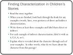finding characterization in children s stories