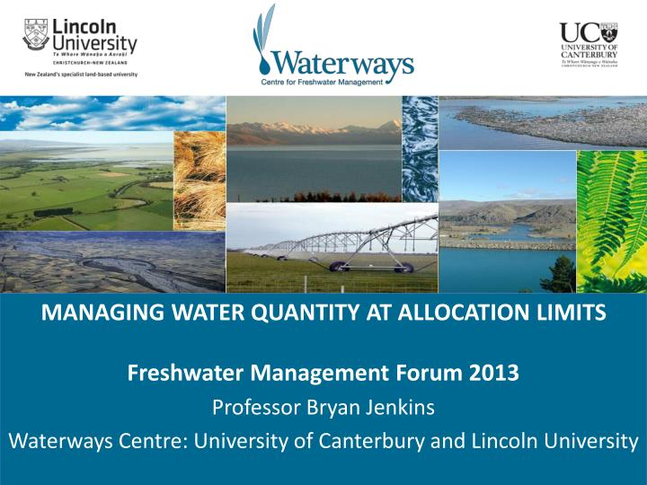 MANAGING WATER QUANTITY AT ALLOCATION LIMITS