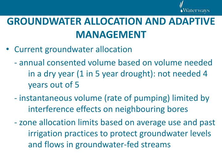 GROUNDWATER ALLOCATION AND ADAPTIVE MANAGEMENT