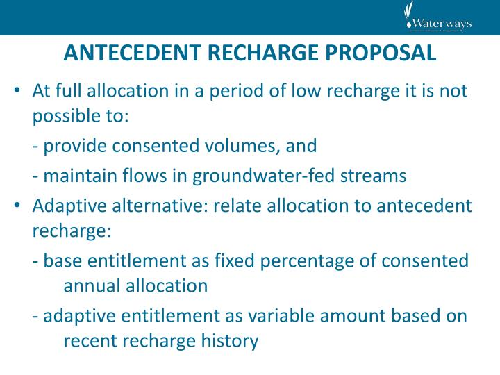 ANTECEDENT RECHARGE PROPOSAL