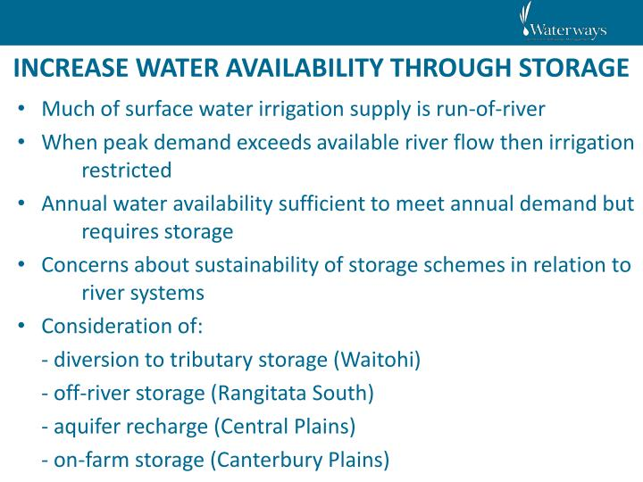 INCREASE WATER AVAILABILITY THROUGH STORAGE