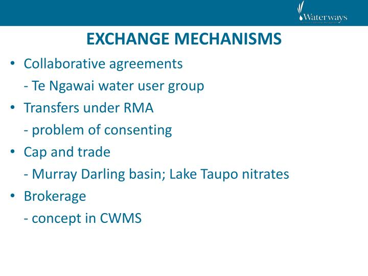 EXCHANGE MECHANISMS