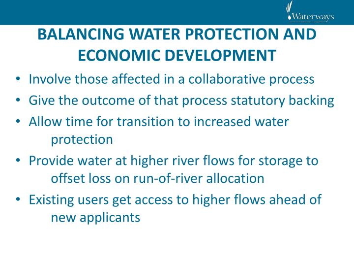 BALANCING WATER PROTECTION AND ECONOMIC DEVELOPMENT