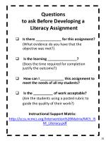 questions to ask before developing a literacy assignment