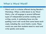 what is word work