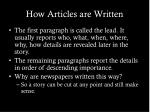 how articles are written