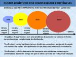 custos log sticos por complexidade e dist ncias