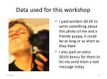 data used for this workshop
