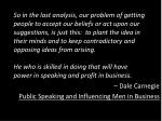 dale carnegie public speaking and influencing men in business