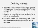 defining names