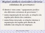 regimes jur dicos associados a diversas estruturas de governance