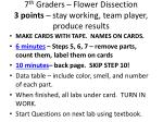 7 th graders flower dissection 3 points stay working team player produce results