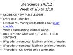 life science 2 6 12 week of 2 6 to 2 10