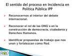 el sentido del proceso en incidencia en pol tica p blica ipp