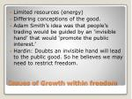 issues of growth within freedom