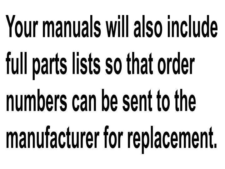 Your manuals will also include full parts lists so that order numbers can be sen
