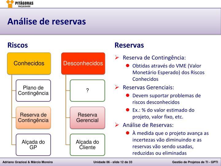 Análise de reservas