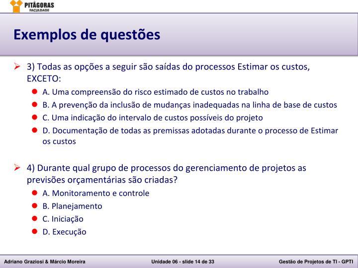 Exemplos de questões