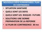 30mn nouveaux d fis humanitaires plan de contingence task force