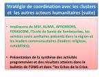 strat gie de coordination avec les clusters et les autres acteurs humanitaires suite
