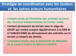 strat gie de coordination avec les clusters et les autres acteurs humanitaires