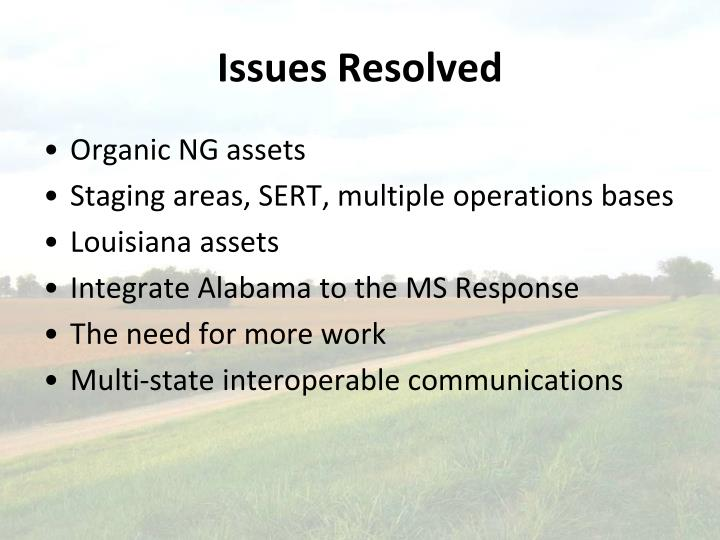Issues Resolved