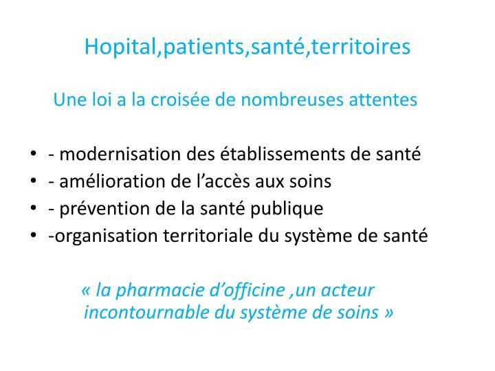 Hopital,patients,santé,territoires